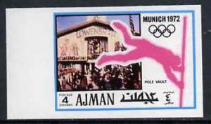 Ajman 1971 Pole Vault 4dh from Munich Olympics imperf set...