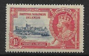 BRITISH SOLOMON IS. SG53h 1935 SILVER JUBILEE 1½d DOT BY FLAGSTAFF VAR MTD MINT