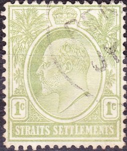 MALAYA STRAITS SETTLEMENTS 1903 KEDV11 1 Cents Grey-Green SG123 Used