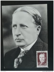 postal history minister of Post Georges Mandel judaica maximum card 1964