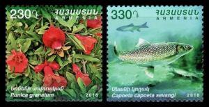 Armenia 2018 fish fruits flora fauna animals 2v MNH