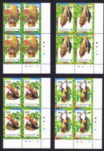 Fiji WWF Fijian Monkey-faced Bat 4 Bottom right Corner Blocks SG#986-989