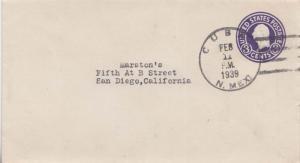 United States New Mexico Cuba 1939 4c-bar  Postal Stationery Envelope.