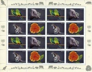 Vienna United Nations UN Stamps 2021 MNH Endangered Species Parrots 16v M/S