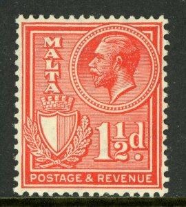 Malta 1930 KGV 1½p Red Scott 170  Mint A139 ⭐⭐⭐