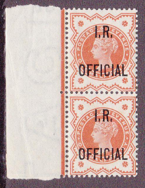 Great Britain # O11, Pair, Mint NH with slight stain on back
