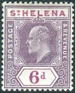 ST HELENA-1908-11 6d Dull & Deep Purple Chalk surfaced paper.  A mounted Sg 67