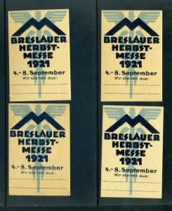 4 VINTAGE 1921 BRESLAUER AUTUMN FAIR  POSTER STAMPS (L767) GERMANY