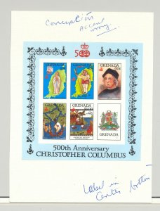 Grenada #1503a Columbus 1v M/S of 5 Chromalin Proof on Card with Notes