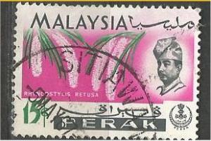 PERAK, 1965, used 15c, Orchid, Scott 144