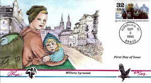 Pugh Designed/Painted WWII Millions Uprooted FDC...23 of 102 created!