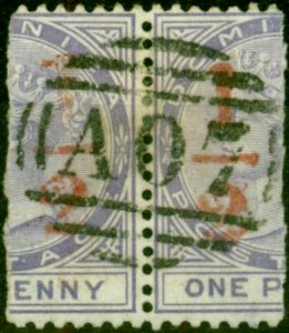 Dominica 1882 1/2 (d) in Red on Half 1d SG11 Fine Used Pair