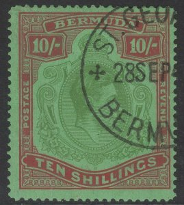 BERMUDA SG119b 1942 10/= YELLOW-GREEN & CARMINE/GREEN p14¼ LINE FINE USED