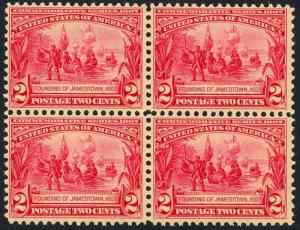 329, Mint NH - BLOCK OF FOUR - XF GEM RARE LIKE THIS