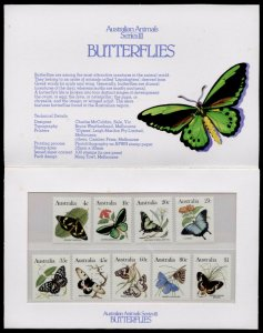 Australia 872-80 in presentation pack MNH Butterflies