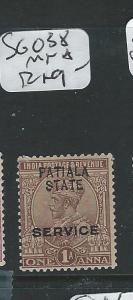 INDIA PATIALA (P2512B) KGV 1A SERVICE SG O38  MNH