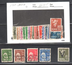 Norway #132 to 135, 187 to 202A, 227 ALL USED