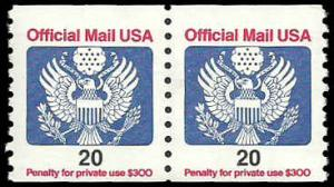 PCBstamps  US O138B  20c Official Mail, coil, MNH, (1)