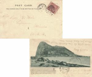 Gibraltar 1d QV 1901 Gibraltar A26 duplex PPC (Gibraltar from San Felipe) to ...