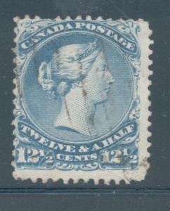 Canada Sc 28 1868 12 1/2c blue large Victoria stamp used