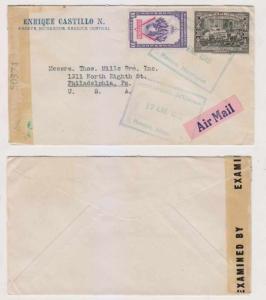 NICARAGUA 1945 Sc 689 & C247 ON CENSOR COVER MASAYA TO PHILADELPHIA VF