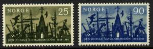 Norway 456-7 MNH Church, Ships, Seaman's Mission