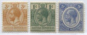 British Honduras KGV 1917-22 1 cent to 5 cents mint o.g. hinged