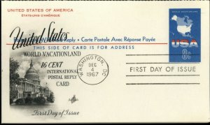 1967 UNITED STATES 8c + 8c ARTCRAFT FDC POSTCARD SC#UY20 USA WORLD VACATIONLAND
