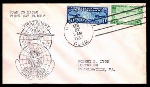 1937 FAM 14-12a FIRST FLIGHT GUAM TO MACAO - U.S. #C7 & C21 FRANKING (ESP#4526)