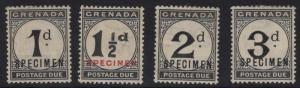 GRENADA SGD11/4s 1921 POSTAGE DUE SPECIMEN SET MTD MINT