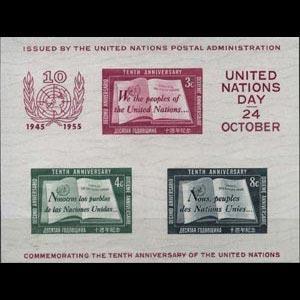 UN-NEW YORK 1955 - Scott# 38 S/S UN 10th. NH
