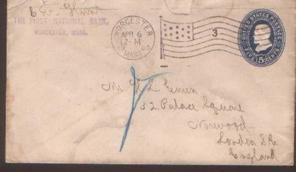 USA 1900 5c env Worcseter Mass Flag canc to GB
