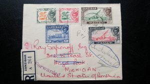 """VERY RARE ZANZIBAR 1958 REGISTERED COVER """"FORWARDED"""" WITH OUT ADDITIONAL POSTAGE"""