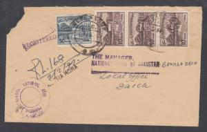 Bangladesh local, Pakistan Sc 134a, 138a, 1972 Registered cover NETRAKONA-DACCA