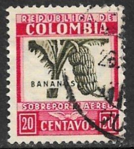 COLOMBIA 1932-39 20c BANANAS Airmail Sc C100 VFU