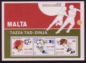 Malta World Cup Football Championship Mexico MS SG#MS784 MI#Block 9