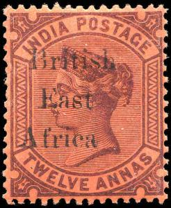 British East Africa On India #65 12a MLH 1895  VF