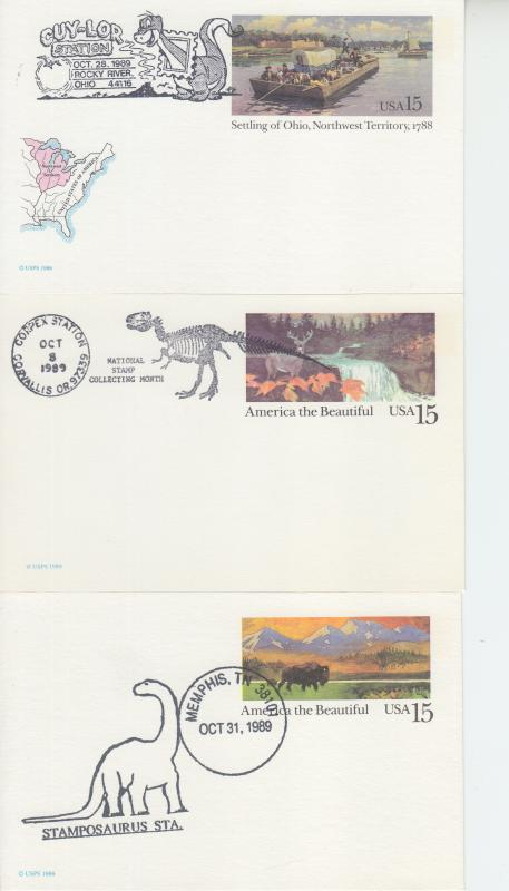 1989  Trio of Dinosaur Pictorial cancelled Postcards (3) Events