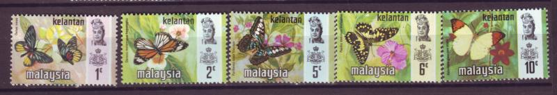 J18023 JLstamp  [low price] 1971 malaya kelantan from set mh #98-102 butterflies