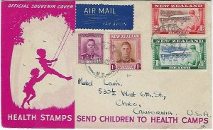 NEW ZEALAND TO CALIFORNIA HEALTH STAMPS 1948 COVER - Q11