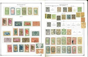 Madagascar 1896-1959Mint & Mostly Used Hinged on Scott Int. Pages