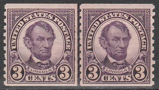 US #600 F-VF Unused Joint Line Pair  CV $30.00 (A3289)