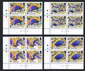 Ascension WWF Resplendent Angelfish 4 Bottom Left Corner Blocks SG#962-965