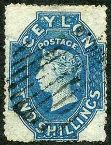 Ceylon SG37 2/- dull blue wmk Star Rough Perf 14 to 15.5 Cat 160 pounds