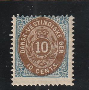 Danish West Indies  Scott#  10c  MH  (1876 Numeral)