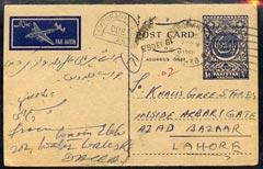 Pakistan 1961 Postage Due p/stat card with Temporary PO h...