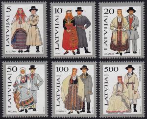 Latvia - 1993 - Scott #343-348 - MNH - Traditional Costumes