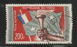 TOGO C24, USED STAMP, FLAG AND TORCH