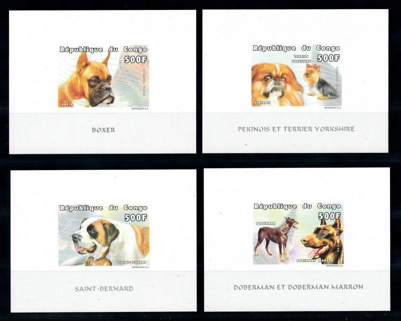 [75740] Congo Brazzaville 1999 Pets Dogs 4 Imperf. Deluxe Sheets MNH