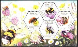 Ireland. 2018. bl107. Bees, fauna. MNH.